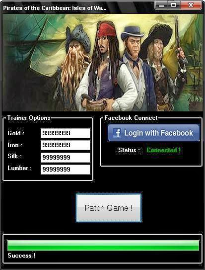 Pirates of the Caribbean: Isles of War Facebook  FinallyPirates of the Caribbean: Isles of War FacebookHackif finished. After weeks of coding and testing our professional team of programmers manage totrainerPirates of the Caribbean: Isles of Wargame to make a working cheat for this wonderful game.Pirates of the Caribbean: Isles of WarCheat Toolcan generate unlimited amount ofGolds , Iron , Silk and LumberforFREE, you have to follow a few simple steps.This Cheat is working very goodand isundetectableby any security systems. This Cheat Tool works OnlyFacebookThe program is safe to use. Group validcheats.com recommended. See you in game! Pirates of the Caribbean: Isles of War :  Generate Unlimited Golds Generate Unlimited Iron Generate Unlimited Silk Generate Unlimited Lumber Undetectable (100% Guaranteed ) 100 % Safe ( no viruses , no spyware , no adware)
