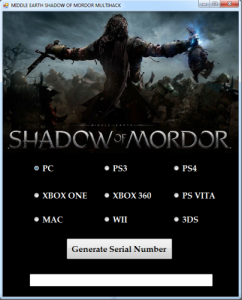 Middle Earth Shadow of Mordor CD Key generator
