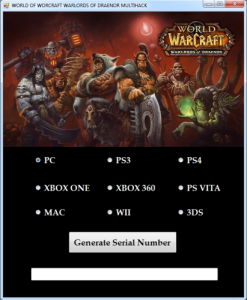 WOW Warlords of Draenor key generator