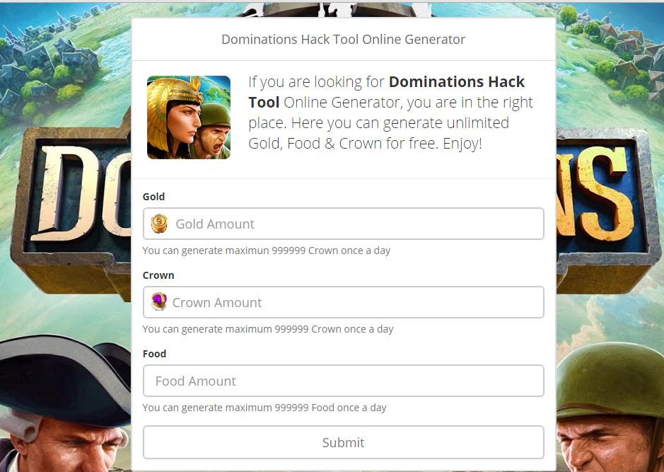 DomiNations Hack Tool – Unlimited Gold / Food / Crown