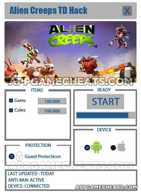 Alien Creeps TD Hack for Gems & Coins