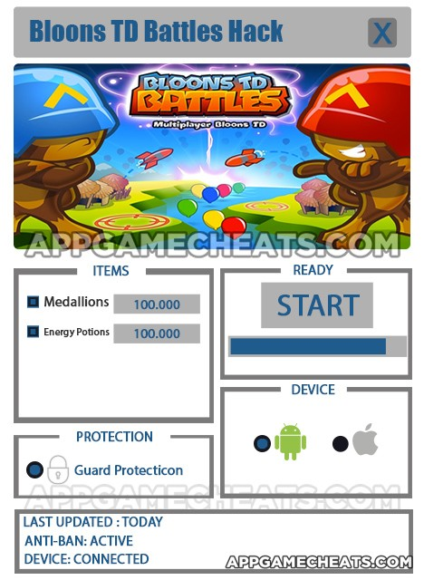 Bloons TD Battles Hack for Medallions & Energy Potions