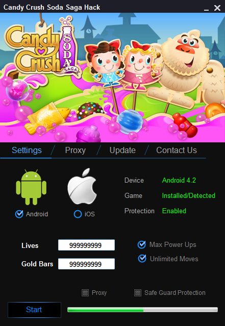 Candy Crush Saga Soda Hack o add unlimited amounts of gold bars and lives