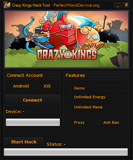 Crazy Kings Hack Gems, Add Unlimited Energy iOS/Android Devices