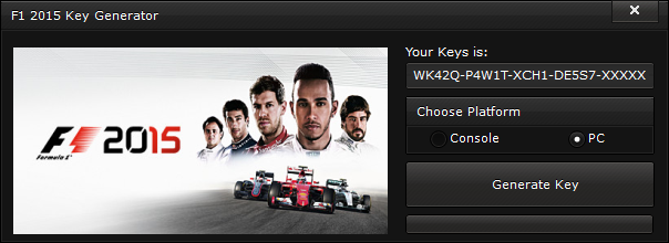 F1 2015 Key Generator