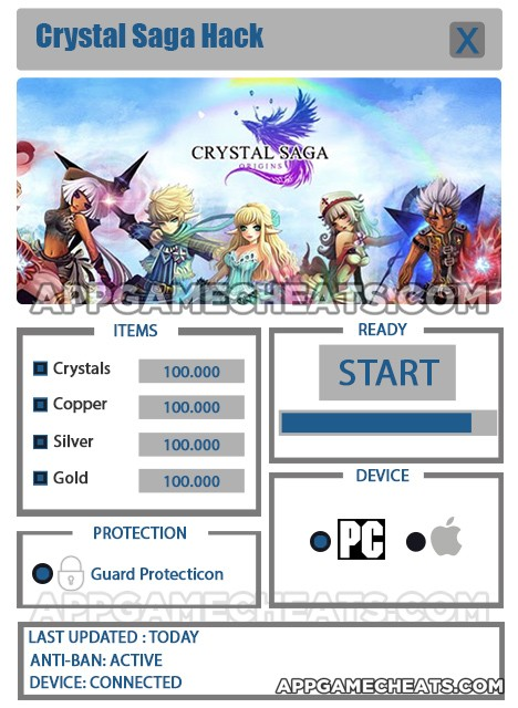 Crystal Saga Hack for Crystals, Copper, Silver, & Gold