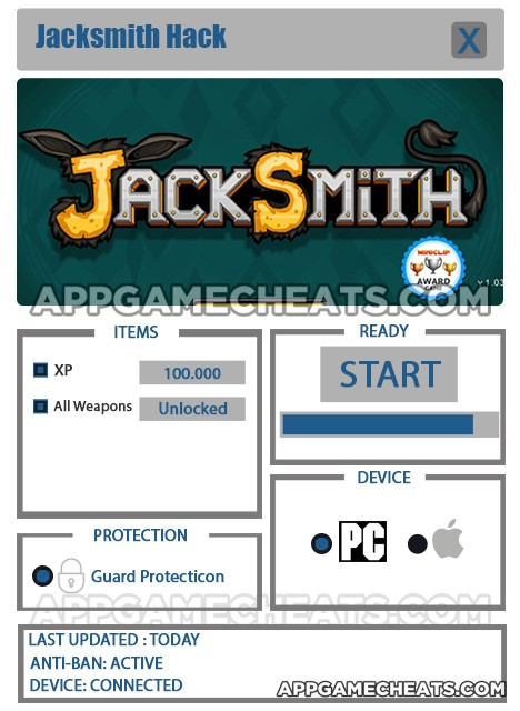 Jacksmith Hack for XP & All Weapons Unlock