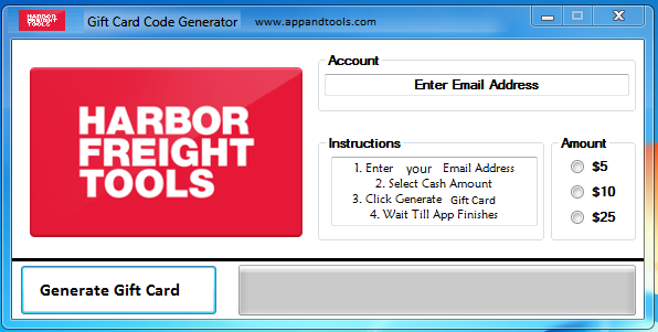 Harbor Freight Tools Gift Card Generator
