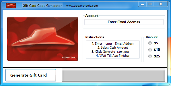 Pizza Hut Gift Card Generator