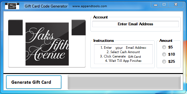 Saks Fifth Avenue Gift Card Generator