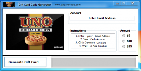 Uno Chicago Grill Gift Card Generator redeem 1$, 5$, 10$, 15$, 25$ We're providing Uno Chicago Grill Gift Card Generator. On this submit we're going to evaluateyou the way to get the reward cardat no cost, with out paying something. Why utilizing your bank card and spending some huge cash in case you do not want to try this? :) Right here isthis superior instrument, straightforward to make use of. Right here is the perfect instrument obtainable on web relating to this sort of retailer, Uno Chicago GrillGift Card Generator.