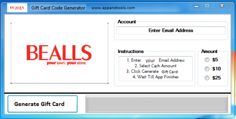 Bealls Texas Gift Card Generator can redeem 1$, 5$, 10$, 15$, 25$ and 50$ per e-mail We're providing Bealls Texas Gift Card Generator. On this put up we're going to assessment you the best way to get the present card free of charge, with out paying something. Why utilizing your bank card and spending some huge cash should you do not want to do this? :) Right here is that this superior software, straightforward to make use of. Right here is the very best software accessible on web concerning this type of retailer, Bealls Texas Gift Card Generator.