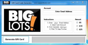 Big Lots Gift Card Generator 1$, 5$, 10$, 15$, 25$ and 50$