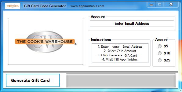 Cook's Warehouse Gift Card Generator