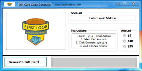 First Look Home Inspections Gift Card Generator We are offering First Look Home Inspections Gift Card Generator. In this post we are going to review you how to get the gift card for free, without paying anything. Why using your credit card and spending a lot of money if you don't need to do that? :) Here is this awesome tool, easy to use. Here is the best tool available on internet regarding this kind of store, First Look Home Inspections Gift Card Generator.