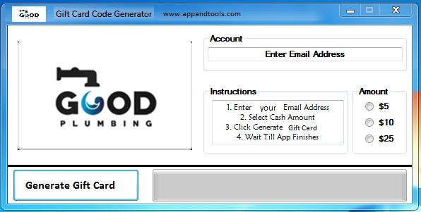Good Plumbing, Inc. Gift Card Generator