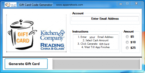 Kitchen and Company Gift Card Generator We are offering Kitchen and Company Gift Card Generator. In this post we are going to review you how to get the gift card for free, without paying anything. Why using your credit card and spending a lot of money if you don't need to do that? :) Here is this awesome tool, easy to use. Here is the best tool available on internet regarding this kind of store, Kitchen and Company Gift Card Generator.