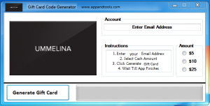 Ummelina Day Spa Gift Card Generator from PC, MAC or even your smartphone.
