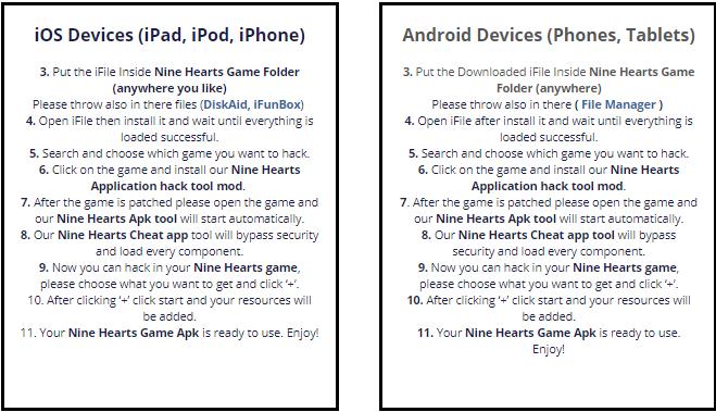 Nine Hearts Hack APK, iOS IPA Cheats (All Versions)