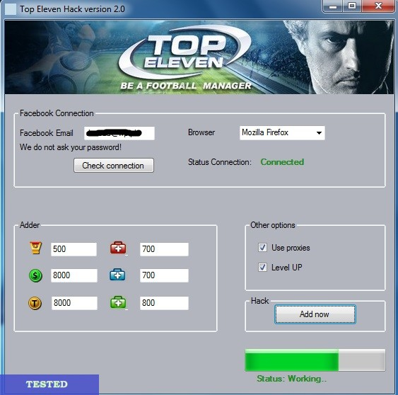 Top Eleven Facebook hack and Tokens