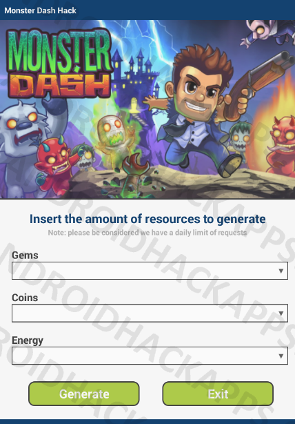 Monster Dash Hack APK Gems, Coins and Energy