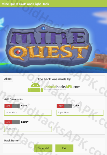 Mine Quest Craft and Fight Hack APK Gems, Coins and Energy
