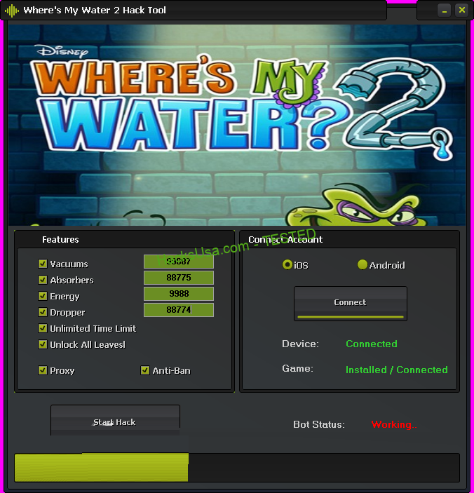 Where's My Water 2 Hack Vacuums Add Unlimited Absorbers