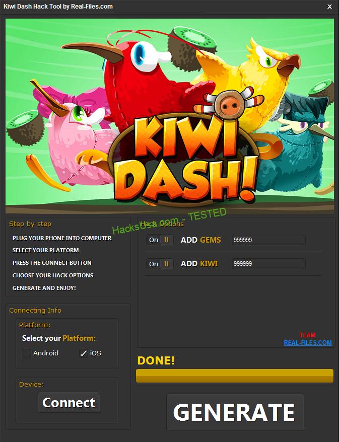 Kiwi Dash Hack Gems Add Unlimited Kiwi