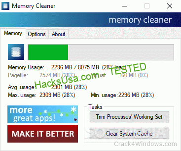 Memory Cleaner 2.60 Crack + Activation Code